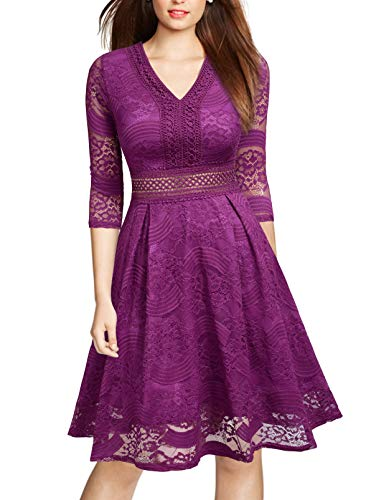 Mmondschein Women Vintage 1930s Style 3/4 Sleeve Green Lace A-line Party Dress AMlacearanth Red XXL