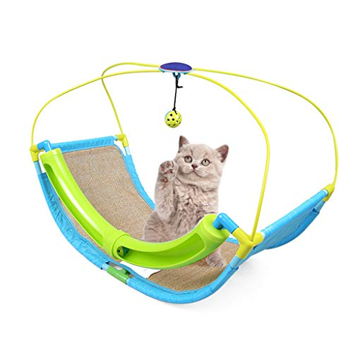 IFOYO Cat Pet Play Mat, Burlap Claw Pad Swing Bed Activity Center with Hanging Toy Bell Ball Multi-Function Cat Toy