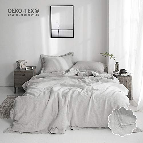Simple&Opulence 100% Linen Duvet Cover Set 3 Piece White and Grey Solid Wash (Queen, Grey)
