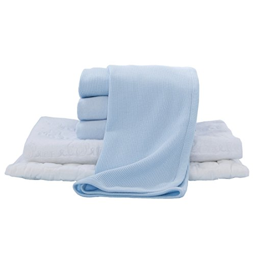 American Baby Company Portable/Mini-Crib Starter Set, Blue, for Boys and Girls