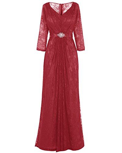Rosso Pizzo Vestito Partito Vestito 2017 Del Scuro Madre Prom Bridesmay Sposa Lunga Increspato Da Di TwOXtq