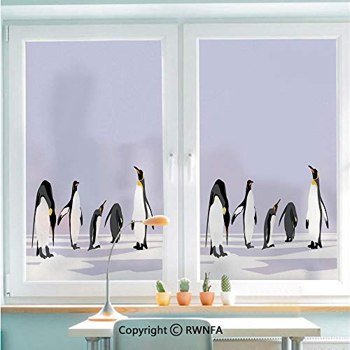 RWNFA Window Film Door Sticker Penguins on Polar ICY Land Winter Climate Arctic Cold Season Creatures Print Glass Film Both Suitable for Home and Office,22.8 x 35.4inch,Lilac Grey White