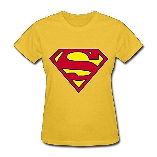 HD-Print New Design Superman Logo Tee For Women Yellow Size L (Htc M8 Otterbox One)
