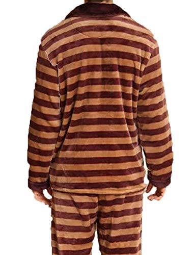 Cálido Domicilio Ropa Largo Servicio De Hombres Franela Invierno E Dos Pijamas Dormir Brown2 Interior A Giro Otoño P0Cwqng