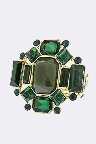 TRENDY FASHION JEWELRY MULTI ROUND JEWEL RING BY FASHION DESTINATION | (Green) (Green Coin Ring Roberto)