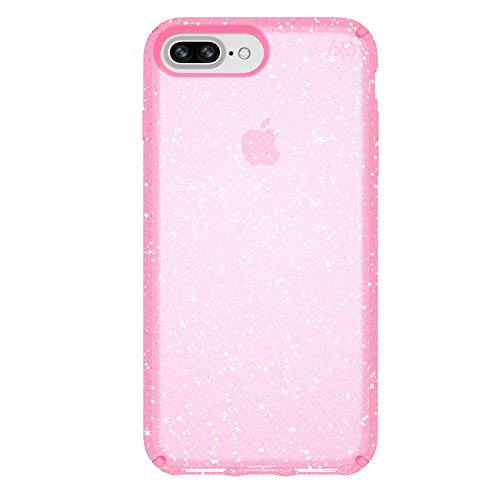 Speck 103123-6603 Products Presidio Clear + Glitter Case for iPhone 8 Plus (Also fits 7 Plus and 6S Plus/6 Plus), Bella Pink With Gold Glitter/Bella Pink
