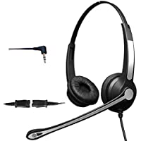 4Call K702FQJ25 2.5 Corded Headset with Noise Canceling Mic for Polycom Cisco Linksys SPA Grandstream Panasonic Gigaset & Zultys Office IP Telephone & Cordless Dect Phones with 2.5mm Headphone Jack
