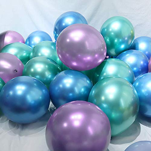 BALONAR 3.2g 12Inch 90pcs Metallic Chrome Balloon in Blue Green and Purple for Wedding Birthday Party Decoration (Blue Green Purple)