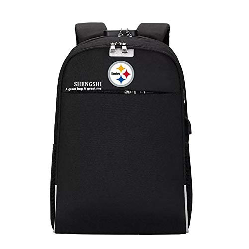 CHNNFC Fits Laptop Notebook up to 15.6 Inches Laptop Backpack Travel Computer Bag for Men Women with USB Charging Port and Headphone Port, Anti-Theft and Waterproof - Pick Pittsburgh Steelers