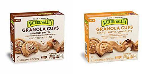 Nature Valley Peak Ed PEANUT BUTTER CHOCOLATE & ALMOND BUTTER GRANOLA CUPS, 5 COUNT (PACK OF 4) (Nature Valley Peak Edition Almond Butter Granola Cups)