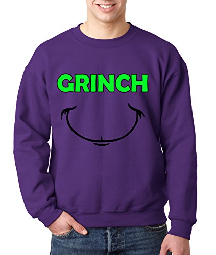 New Way 605 - Crewneck GRINCH SMILE CHRISTMAS Unisex Pullover Sweatshirt 2XL Purple Men's V Neck Christmas Jumpers