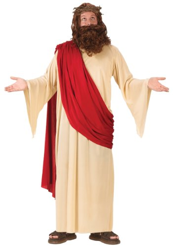 Jesus Halloween Costumes (FunWorld Men's Jesus Adult Costume with Crown and Beard, Cream/Red, One Size Fits Up To 6ft. 200 lbs.)