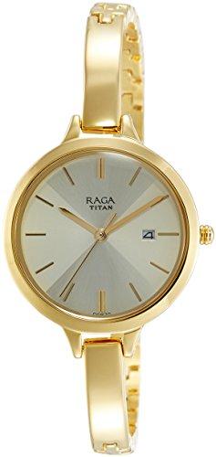 Titan Raga Viva Analog Beige Dial Women's Gold, Silver Metal, Brass, Leather, Jewellery Design, Bracelet Style, Designer, Quartz Glass, Water Resistant Wrist Watch ()