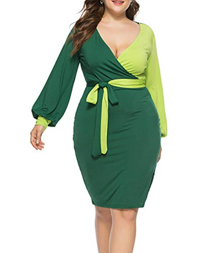 (Acelyn Women's V Neck Wrap Bodycon Long Sleeve Color Block Belted Party Pencil Midi Dresses X-Large Green&Yellow)