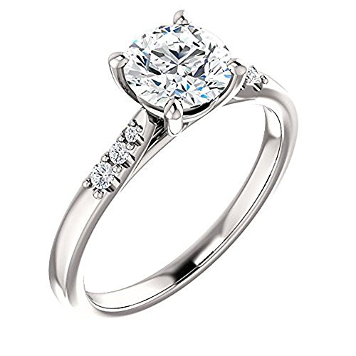 Forever One Moissanite Near Colorless & Diamond Engagement Ring in 14k White or Yellow Gold (white-gold, 6.5) by GNGJewel Moissanite
