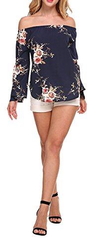 Longwu Moda de las mujeres fuera del hombro Floral Printed blusa camisa de manga larga Casual Tops Azul oscuro