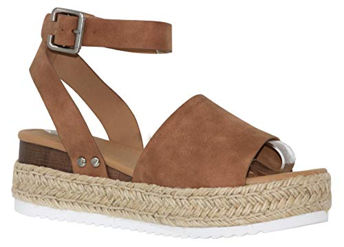 MVE Shoes Women's Casual Peep Toe Ankle Strap Sandals - Cute Summer Espadrilles High Platforms - Comfort Wedges Saldals, Topic TAN NBPU 11