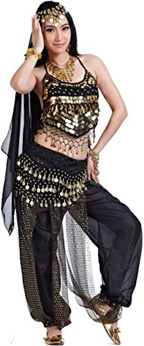 Athena YY Belly Dancer Costumes Bollywood Dancer Costume for Women Black, 5-piece Aa Black, 4/8/10/12/14 ()