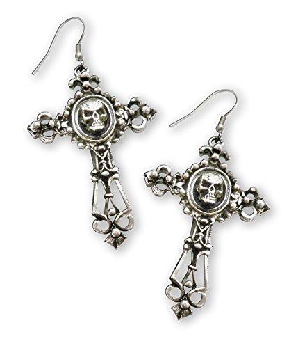Fish Cross Earrings - Gothic Skull on Filigree Cross Silver Finish Pewter Dangle Earrings
