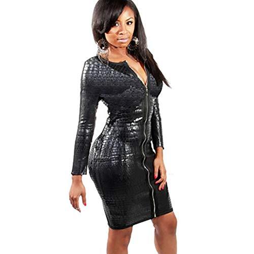 SHANGXIAN Nightclubs Dresses Latex Catsuit Women Faux Leather Black Snakeskin Bandage Bodysuit Zipper Bodycon Knee Fashion Dress,XL -