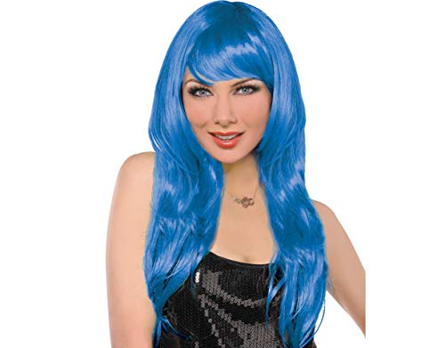 (Amscan 397285.22 Perfect Team Spirit Glam Long Wig Accessory, Blue, One Size Party Supplies)
