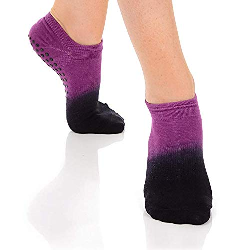 Great Soles Ombre, Sport, and Novelty Print Non Skid Socks for Women - Non Slip Grip Yoga Socks for Pilates, Barre, Ballet