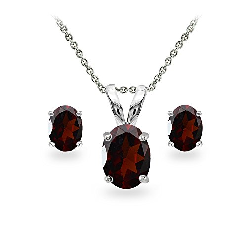 Garnet Necklace Bracelet Earring (Sterling Silver Garnet Oval-cut Solitaire Necklace and Stud Earrings Set)