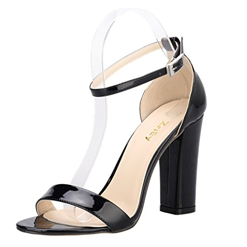 Patent Leather Strappy Sandals - ZriEy Women's Chunky Block Strappy High Heel Sandals Fashion Simple Ankle Strap Open Toe Shoes Patent Leather Black Size 9 for Formal Dress Wedding Party