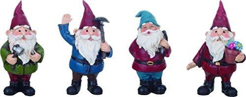 Set of 4 Garden Gnomes 3 Inch Resin Decorative Miniature Figurine Assortment
