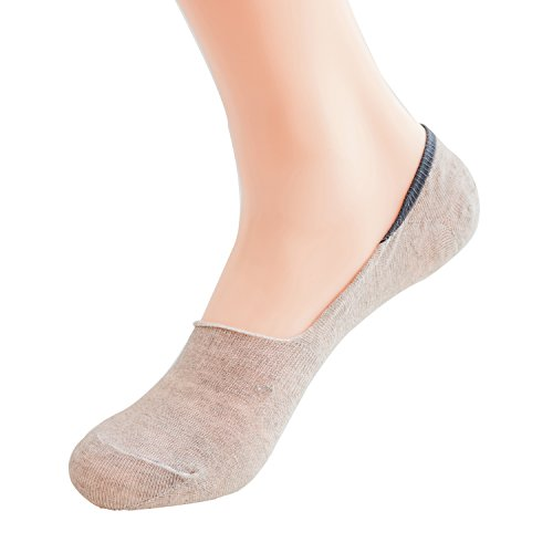 Max Resource Organic Linen No-Show Socks Low Cut Non Slip Men's 5-Pairs(Natural/Undyed, Free Size) - Linen Natural Brown Undyed
