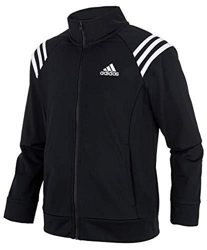 adidas Girls' Track Jacket (Medium / 10/12, Black/White Stripe)