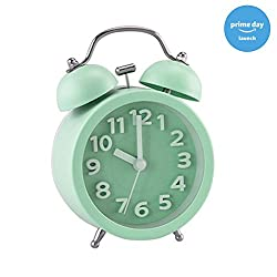 PiLife 3 Mini Non-ticking Vintage Classic Bedside /Table Analog Alarm Clock with Backlight , Battery Operated Travel Clock, Round Twin Bell Loud Alarm Clock for Kids( 3D Mint Green)