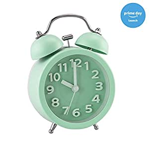 """PiLife 3"""" Mini Non-ticking Vintage Classic Bedside /Table Analog Alarm Clock with Backlight , Battery Operated Travel Clock, Round Twin Bell Loud Alarm Clock for Kids( 3D Mint Green)"""