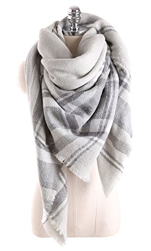 Women Tartan Scarf Stole Plaid Blanket Checked Scarves Wraps Shawl(Plaids Grey Grey)