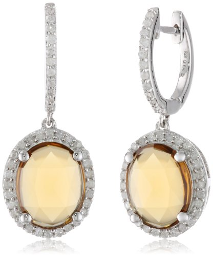 Sterling Silver Whiskey Quartz and Diamond Oval Shape Dangle (Sterling Silver Whiskey)