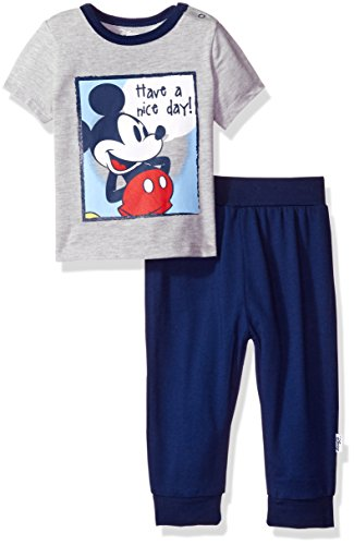 Disney Baby Boys' Mickey Mouse 2-Piece T-Shirt and Sweatpant Set, Light Grey Heather, 0/3