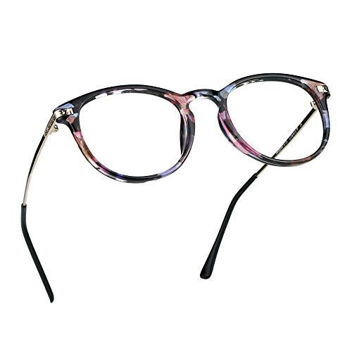 LifeArt Blue Light Blocking Glasses, Anti Eyestrain, Computer Reading Glasses, Gaming Glasses, TV Glasses for Women Men, Anti Glare (Floral, No Magnification)