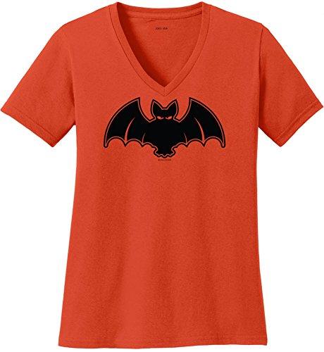 Joe's USA(tm Halloween BAT Ladies Orange V-Neck -