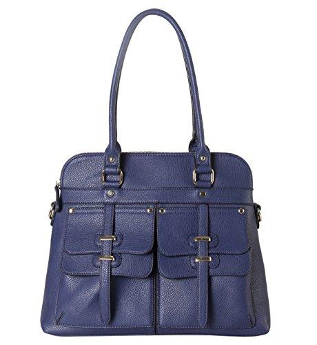 Rimen & Co. Double Front Pockets Two Top Handle Zipper Closure Casual Hobo Satchel Tote Women Handbag Purse K30-2656 Blue