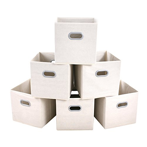 MAX Houser Fabric Storage Bins Cubes Baskets Containers with Dual Plastic Handles for Home Closet Bedroom Drawers Organizers, Flodable, Set of 6 (Beige) from MAX Houser