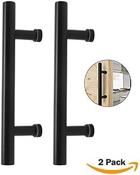 Probrico madera puerta de granero corredera rodillo Hardware | corredera puerta de bolsillo cerradura de privacidad | rústico negro puertas garaje cobertizo: Amazon.es: Bricolaje y herramientas