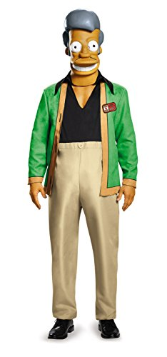 Disguise Men's Apu-Kwik E Mart Deluxe Adult Costume, Multi, X-Large (Apu Halloween Costume)