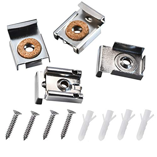 Kenkio 4 Pieces Unframed Mirror Mount Clips Spring Loaded Mirror Hanger Clips Set with Screws and Rawl Plugs