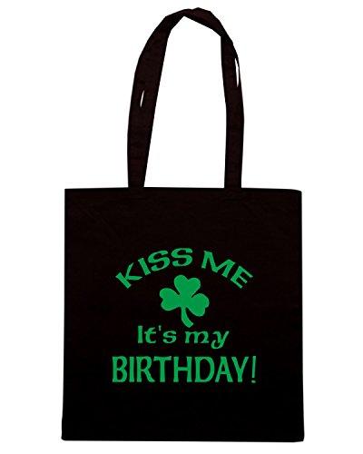 T-Shirtshock - Bolsa para la compra TIR0131 kiss me its my birthday st pats day dark tshirt Negro