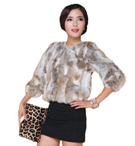 taglia Fur Jacket manica Rabbit mezza L Orange Galia Short Rabbit xO4qEnwY