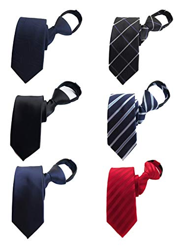 (BESMODZ Men's Lot 6 PCS Classic Zipper Ties Pretied Solid Color Silk Necktie)