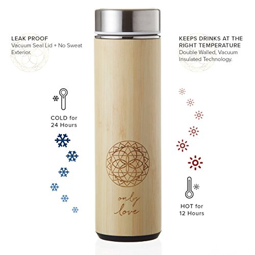For Water And Thermos Mug Loose BasketVacuum With Stainless Love TeaCoffeeOr 18oz Steel The Strainer Fruit Bamboo New Infuser Tumbler Leaf c4qR3AjS5L