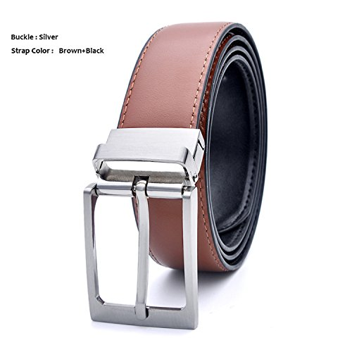 Formal Leather Reversible Buckle Belts Mens Leather Handmade Belt NEW Cowhide Leather Men Belt BlackBrownSilver 100cm 32to35 Inch (Belted Cowhide Belt)