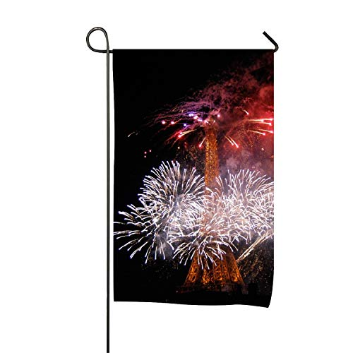 Bastille Day Eiffel Tower Fireworks Polyester Garden Flag House Banner 12x18 inch, Two Sided Welcome Yard Decoration Flag for Wedding Party Home Decor