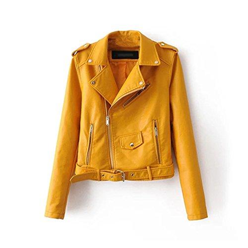 Mandaartins Women Short Faux Soft Leather Jacket Pu Leather Jacket Street Coat Blue L by Mandaartins (Image #2)